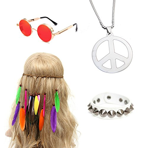 70s 80s 90s women mens Disco Halloween Rock Star Heavy Metal Set Packet of 4 (color 1#, one size) -