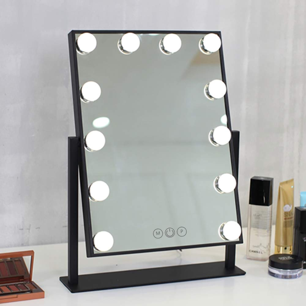 FENCHILIN Lighted Makeup Mirror Hollywood Mirror Vanity Makeup mirror with Light Smart Touch Control 3Colors Dimable…