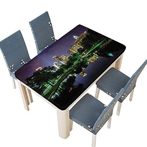 PINAFORE Decorative Tablecloth The Uptown Skyline and a Lake at Marshall Park at Night in Charlotte Table Cover for Dining Room and Party W45 x L84.5 INCH (Elastic Edge)
