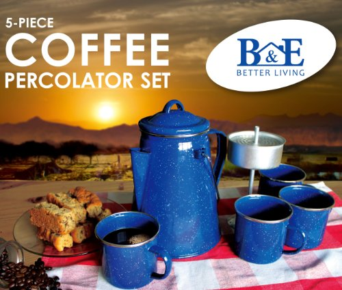 B&E Home Essential 5 Pieces Set Enamelware Percolator with 4 Cups by B&E Home Essential