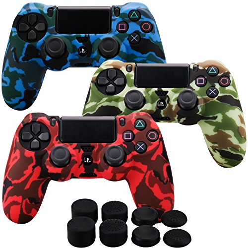 - MXRC Silicone rubber cover skin case anti-slip Water Transfer Customize Camouflage for PS4/SLIM/PRO controller x 3(red & yellow & blue) + FPS PRO extra height thumb grips x 8
