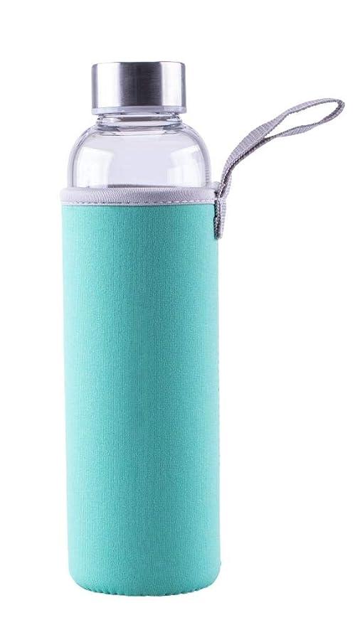 550 ml f/ür Sport//B/üro//Reisen m t/ürkis Tragelasche aus Borosilicatglas Edelstahldeckel//Schutzh/ülle 2 St/ück Steuber Glas-Trinkflasche mit Tasche