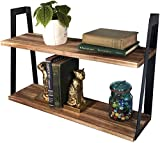 2-Tier Rustic Floating Wall Shelves for Bedroom, Kitchen, Living Room, Bathroom Decor & Storage | Modern Rustic Farmhouse Bookshelf | Industrial Wall-Mounted Wood Book & Display Shelving