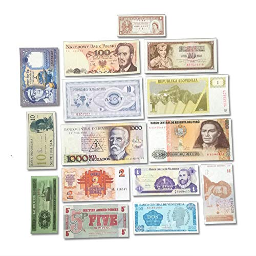(World Banknotes - Banknotes Collection -15 Pieces of 15 Different World Countries - Foreign, Currency, Uncirculated )