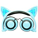 Headphones Cat Ear Foldable Over-the-Head Cartoon PC Phone MP3 General Sports Music headset Wired Earphone with LED Glowing Lights (Blue)