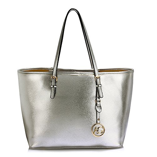 London Shoulder Plain Large Silver Faux Bag Floral Handbag Xardi Leather Ladies Tote Designer Women Travel fd56xqP