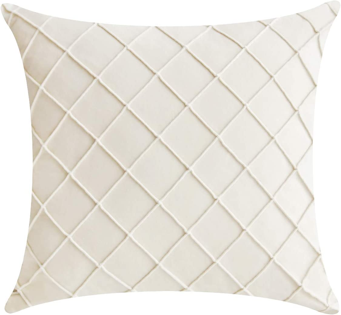 Jeanzer Cozy Velvet Square Decorative Throw Pillow Cover Case for Sofa Cushion Couch Bedroom Home Decor,18 x 18 Inches, Cream (Without Pillow Insert)