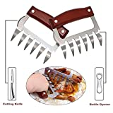 Metal Meat Claws, Adubup Stainless Steel Meat Forks with Wooden Handle, Best Meat Claws for Shredding, Pulling, Handing, Lifting & Serving Pork, Turkey, Chicken, Brisket (2 Pcs,BPA Free)