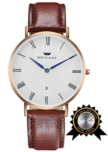 BRIGADA Swiss Watches for Men Women, Minimalist Business Casual Waterproof Watch for Men Women, Great Gift for Someone or Yourself