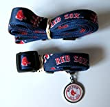 Boston Red Sox Pet Set Dog Leash Collar ID Tag MEDIUM