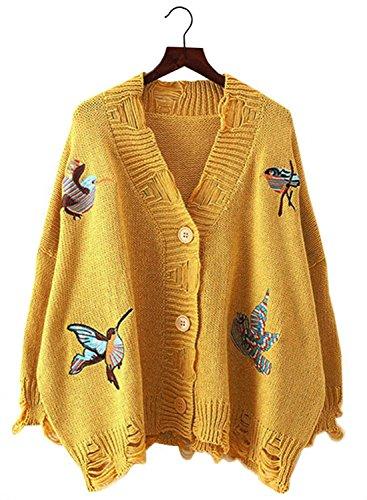 Bird Sweater - Futurino Women's Cozy Birds Embroidery Frayed Hem Button up Cardigan Sweaters