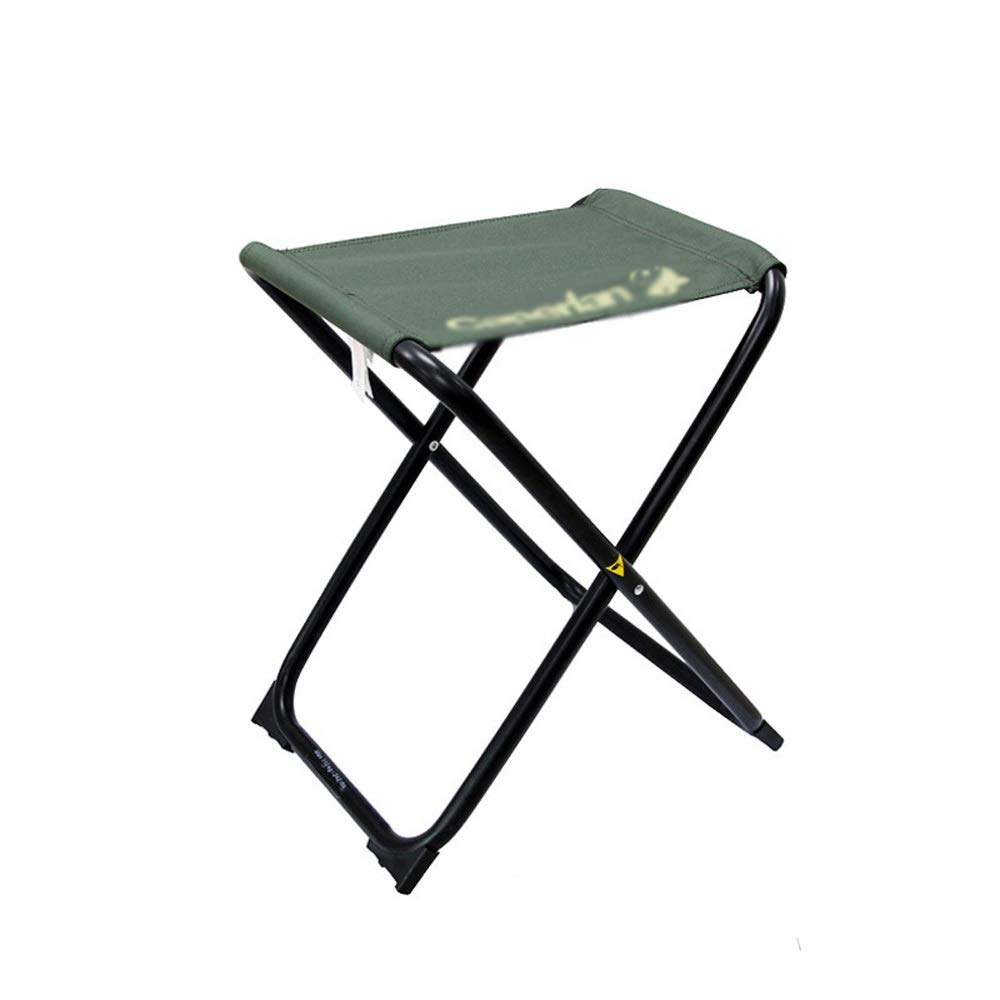 LifeX Green Color Steel Folding Stool Portable Outdoor Foldable Chair Mini Fishing Fold Up Seat Double X Shape Slacker Chair Ultra Light Mazar Subway Collapsible Chair