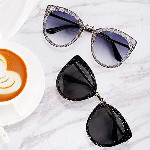 Europeo Mujer sol Eyes Polvo Negro y Blue HLMMM americano Gafas de Powder Retro Tide Black Grey Street Cat Bright Color qtRwBIxF