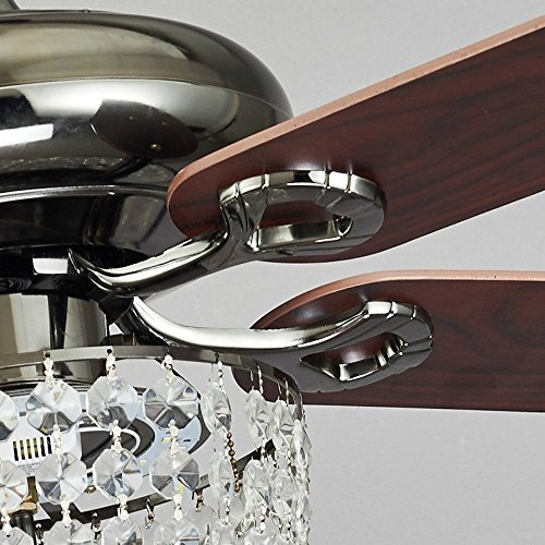 COLORLED American Luxury Crystal Antique Wood 5-Leaves 52 Inch Pull Switch Ceiling Fan for Living Room Bedroom Dining Room Led Fan Chandelier Lighting Fixture by COLORLED (Image #2)
