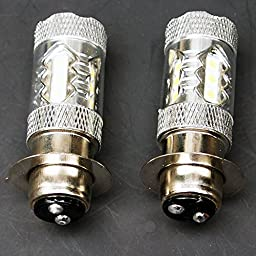 QUIOSS 2 pcs LED Headlight Bulb 80W Super White Upgrade For Yamaha Banshee 350 Big Bear YXR Rhino Grizzly &More