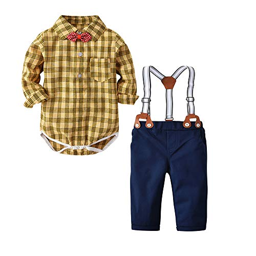 Newborn Baby Boys Gentleman Outfits Suits, Infant Romper Jumpsuit+Suspender Pants+Bow Tie Overalls Clothes Toddler 4Pcs Set (Yellow Plaid, 18-24M/100)