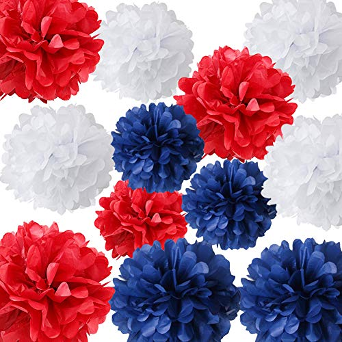 HappyField 4th of July Party Patriotic Decorations Nautical Party Decorations 12PCS Navy Blue White Red Tissue Pom Poms Flowers for Independence Day Party Captain America Party Ahoy Baby Shower Party -