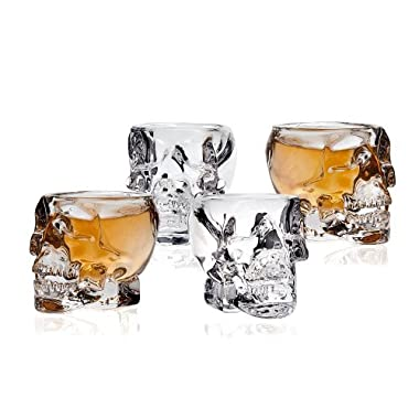 Klikel Skull Head 3D Clear Crystal 2 Oz. Whiskey Liquor Vodka Shot Glasses Shooters Barware, Set of 4