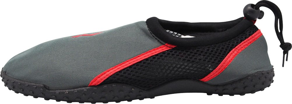 NORTY - Young Mens Skeletoe Aqua Water Shoes Pool Beach, Surf, Snorkeling, Exercise Slip on Sock, Charcoal, Red 40208-8B(M) US by NORTY (Image #2)