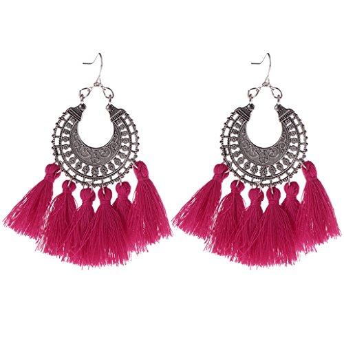 - Milue Tassel Earrings Long Drop Dangle Bohemia Vintage Jewelry Women 10 Color Fashion (Hot Pink)