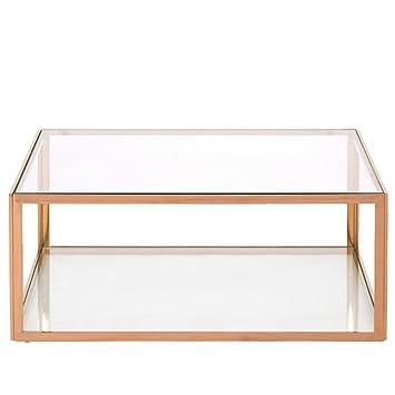 Homy Couchtisch Quadratisch 100x100cm Glas Metall 2 Klarglasplatten
