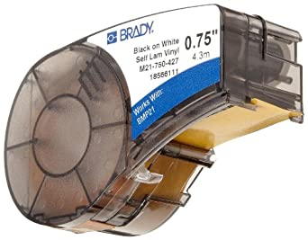 "Brady M21-750-427 14' Length, 0.75"" Width, B-427 Self-Laminating Vinyl, Black On White/Translucent Color BMP 21 Mobile Printer Label"