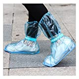 Andux 1 par reutilizables antideslizantes zapatos impermeables cubre lluvia protectores de nieve largo zapatos cubierta botas de lluvia portátil YXT-03