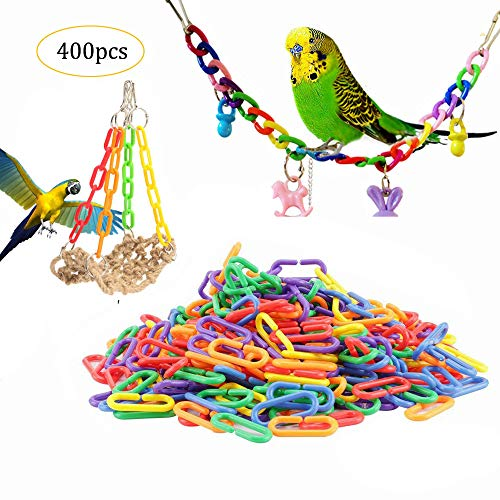 Gdaya 400 Pcs Plastic C-Clips Hooks Chain Links C-Links Plaything Climb Toys Foot Toy Glider Rat Parrot Bird Toy Kids Learning Toys ()