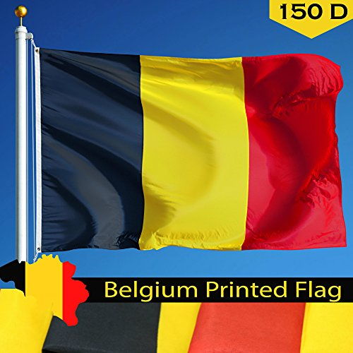 G128 Belgium Belgian Flag 3x5 ft Printed Brass Grommets 150D Quality Polyester Flag Indoor/Outdoor - Much Thicker and More Durable than 100D and 75D Polyester