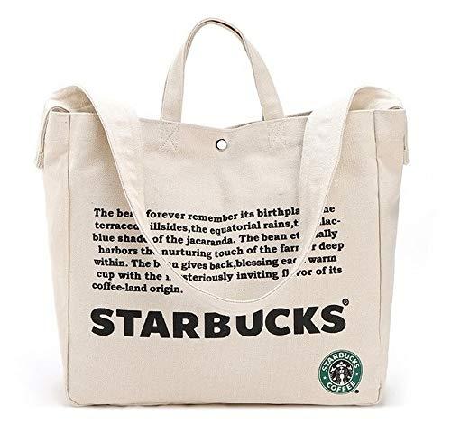 Starbucks New Logo Canvas Anywhere Tote Bag, 2Way Large Shoulder Bag Large-Capacity Shopping ()