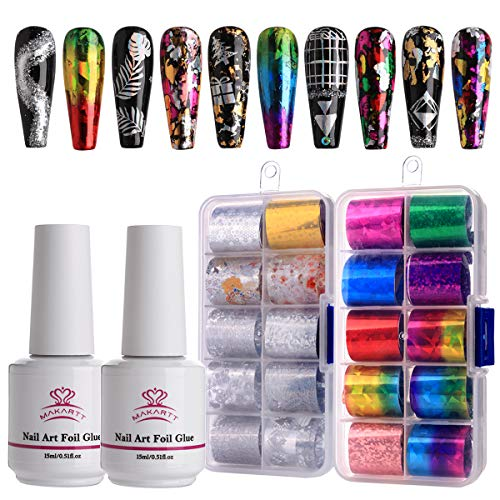 Makartt Nail Art Foil Glue Gel with Starry Sky Star Foil Stickers Set Nail Transfer Tips Manicure Art DIY 15ML, 20PCS (2.5cm100cm) Stickers, Nail Dryer Curing Lamp Required