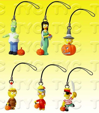 Simpsons Figure Charm Collection (Simpsons Figure Charm Collection 1 Halloween Series Set by Vending Machine Toys)