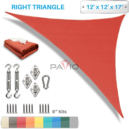 PATIO Paradise 12 x 12 x 17 Sun Shade Sail with 6 inch Hardware Kit, Red Right Triangle Canopy Durable Shade Fabric Outdoor UV Shelter – 3 Year Warranty – Custom