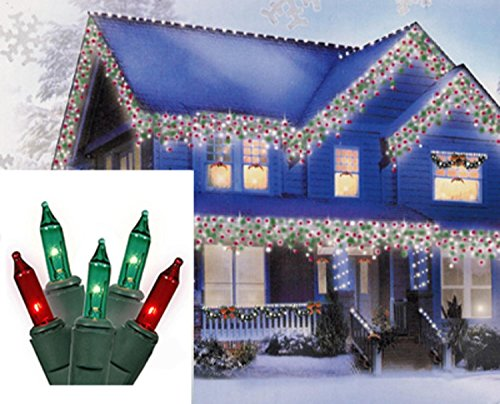 Brite Star Green Mini Icicle Christmas Lights with White Wire, Set of 100, Red Green Icicle Lights