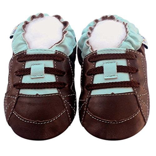 Leather Baby Soft Sole Shoes Boy Girl Infant Children Kid Toddler Crib First Walk Gift Skateboard brownblue (30-36month, Brown/Blue) ()