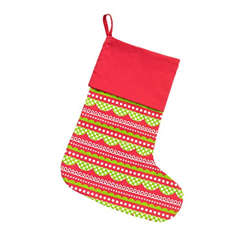 - 16.5 inch Holly Jolly Red and Lime Green Rick Rack All Cotton Christmas Stocking