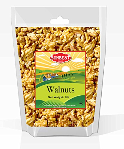 SUNBEST Natural Shelled Raw California Walnuts in Resealable Bag … (3 Lb) ()