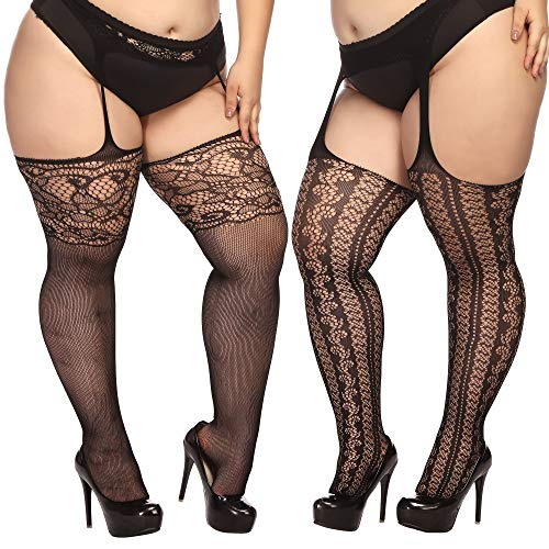 (TGD Plus Size Stockings for Women Suspender Pantyhose Fishnet Tights Black 2 Pairs Thigh High Stocking (Fit US 8-16)(Black 59))