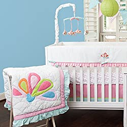 Aqua Peacock Mix & Match 10 Piece Crib Bedding set, by Pam Grace Creations