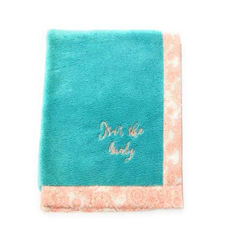 (Bacati Sophia Paisley Scroll Embroidered Plush Blanket, Coral/Aqua)