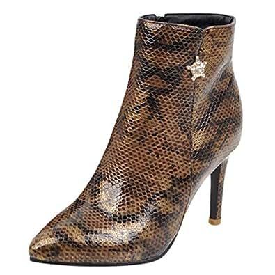 Botas Martin Mujer Invierno Zapatos De TacóN Alto OHQ Cremallera Lateral Serpiente PatróN Wild Ladies Bare Botines Negro Rojo Beige Azul Zapatos: Amazon.es: ...