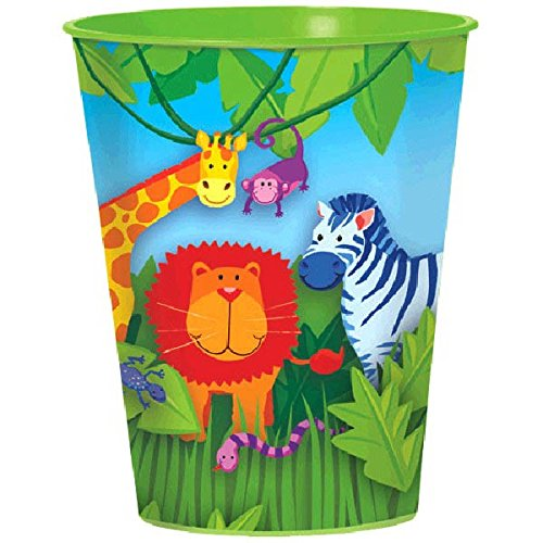 Amscan Wild Jungle Animals Themed Party Plastic Cups Tableware, 16 oz, Multi Color