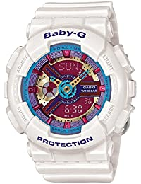 Baby-G Multicolor Dial White Resin Multi Quartz Ladies Watch BA112-7A