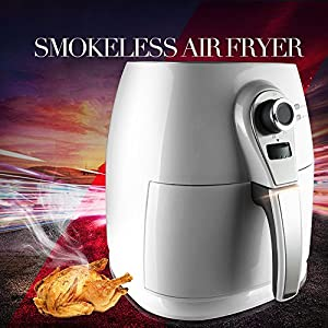1400W Air fryer, Healthy Smokeless Low-Fat Non-stick Multi-Cooker Oilless Cooker, 4L 3.8QT Capacity with Timer and Temperature Control and Detachable Basket Handles (White)