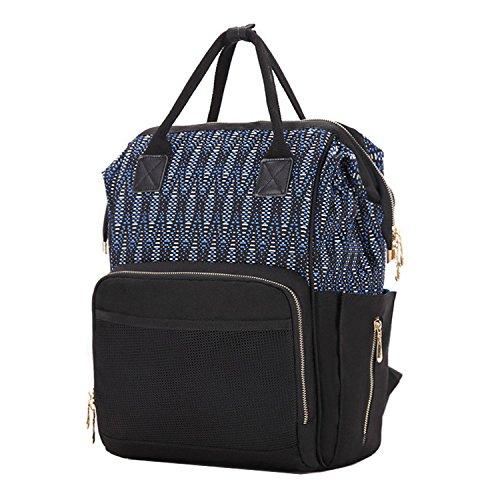 BigForest Mummy - Mochila bolsa de viaje multifunción para pañales con cambiador de pañales de bebé azul marino Talla:talla única Black 3