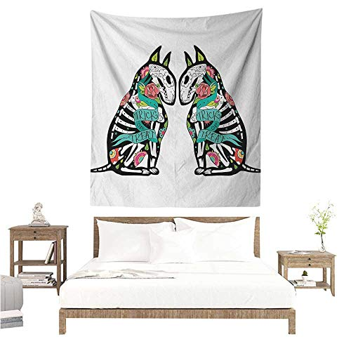 (WilliamsDecor Wall Tapestry Halloween Skeleton Demon Figures Flowers and Trick or Treat Quote Ethnic Holiday Design 51W x 60L INCH Suitable for Bedroom Living Room)