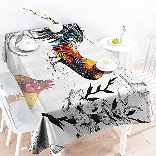 Homrkey Restaurant Tablecloth Gallos Decor Collection Roosters Crowing Sound Silhouettes and Flowers Insect Butterfly Standing Plumage Art Yellow Teal Blue and Durable W54 xL84