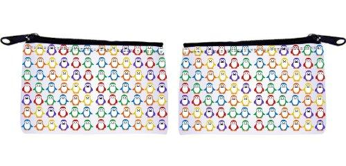 Rikki KnightTM Mustache Penguins on Grey Background Design Scuba Foam Coin Purse