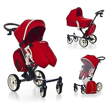 MOBIBE Cochecito Paseo color ROJO. Incluye 3 piezas: Moisés/Capazo + Silleta + Bolso. Carrito bebé compacto, muy completo, ligero, practico y seguro. ...