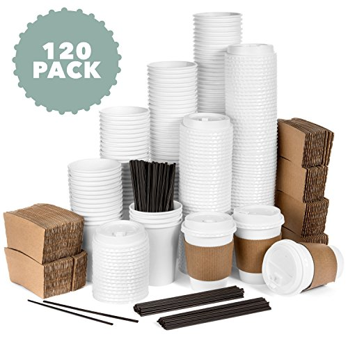 Average Joe - 120 Pack - 12 Oz Disposable Hot Paper Coffee Cups, Lids, Sleeves, Stirring Straws To Go - (Clean White Color) by Average Joe
